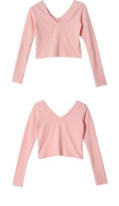 V-Neck Long Sleeve Crop Top (Pink) | STYLENANDA