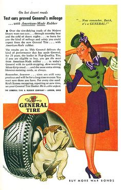 "1940s. ""Test cars proved General's mileage.."" #tires #generaltire #vintageads #vintage #1940s"