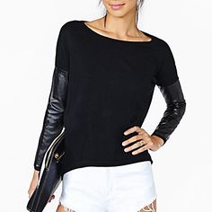 Women's+Casual/Daily+Street+chic+Fall+T-shirt,Color+Block+Round+Neck+Long+Sleeve+Black+Cotton+/+Rayon+Thin+–+EUR+€+9.79