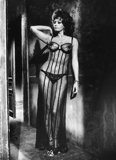 Actress Sophia Loren costumed in sheer gown which exposes all but the possible in brothel scene fr. the movie Marriage Italian Style. (Photo by Alfred Eisenstaedt/The LIFE Picture Collection/Getty Images) Vintage Hollywood, Hollywood Glamour, Classic Hollywood, Estilo Sophia Loren, Sophia Loren Style, Sofia Loren, Lingerie Look, Vintage Lingerie, Sophia Loren Images