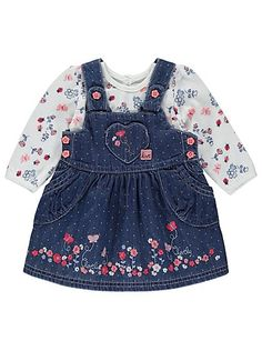 Denim Pinafore Dress and Top Set, read reviews and buy online at George at ASDA. Shop from our latest range in Baby. This 2 piece outfit is the perfect way t...