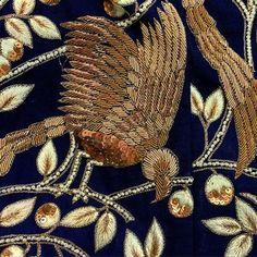 Hand embroidered zardozi detailing for our blouse. #AlokHarsh #Kolkata #Embroidery #HandEmbroidery #Detailing #Bird #Zari #FrenchKnot #Wedding #Delhi #Kolkata #India #MadeInIndia #Fashion #Style #Designer #Bride #Shopping #Customize #Heritage #Pure #Craftsmanship #Handcrafted #Blouse #Saree #Mode #Broderie #Art