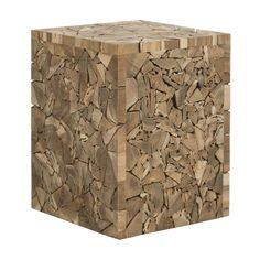 Crafted from reclaimed teak, the Lumberjack Stool can be used to add texture and style to any living space. Its surface is a mosaic of teak root chips arranged into a functional work of art.  Find the Lumberjack Stool, as seen in the Redefining Rustic Collection at http://dotandbo.com/collections/redefining-rustic?utm_source=pinterest&utm_medium=organic&db_sku=SAF0119