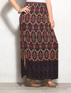 Plus Size Mixed Print Crinkled Maxi Skirt