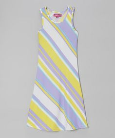 Another great find on #zulily! Lemon Frizz & Lavender Stripe Maxi Dress - Girls by Chillipop #zulilyfinds