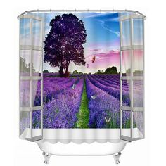 Purple Grassland out of the Wall Print 3D Bathroom Shower Curtain #bath #shower #curtain