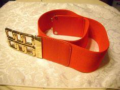 Vintage Red Orange Womens Stretch Belt 2 and by vintagefinds61, $14.00