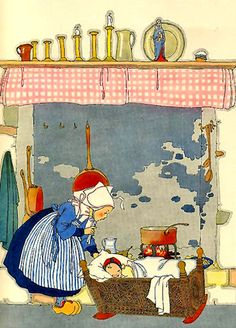 """Bye-lo-bye, Colas, Little Brother"", Nursery Friends From France, Translated by Olive Beaupre Miller, Illustrated by Maud and Miska Petersham, The Book House for Children, Chicago, copyright 1925, 1927. Posted by Domestic Bliss Flikrphoto set by flamenconut.  Note utensils hung within the fireplace and figure of Mary on the mantel."