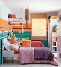 Kinderzimmer Komplett Gestalten U2013 Wenn Junge Und Mädchen Einen Raum Teilen  Müssen   Kinderzimmer Komplett Breite Streifen In Blau Und Orange Babyrou2026