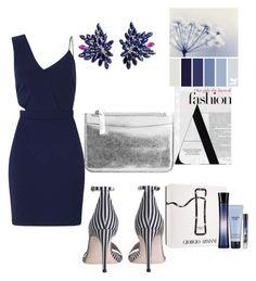 """dark blue dress"" by theminimalist01 ❤ liked on Polyvore featuring Miss Selfridge, Zimmermann, Joana Salazar, MANGO and Giorgio Armani"