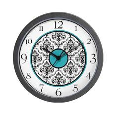 Turquoise Black White Damask Elegant Clock Wall Cl Wall Clock by CafePress, http://www.amazon.com/dp/B009YAD11C/ref=cm_sw_r_pi_dp_vAJssb0KV61E0