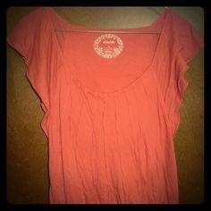 Anthropologie Deletta Pink Cap Sleeve Cotton Tee S Anthropologie Deletta Coral Pink Red Cap Ruffle Sleeve Cotton Tee Top S Anthropologie Tops Tees - Short Sleeve
