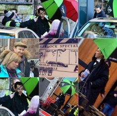 SHERLOCK (BBC) ~ Benedict Cumberbatch (Sherlock Holmes), Martin Freeman (John Watson, in car front seat on the right), Mark Gatiss (co-creator, writer, and Mycroft Holmes), Sue Vertue (producer, in turquoise) in collage of photos from January 6, 2015, the first day of filming the pre-Season 4 special.