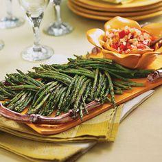 Grilled Asparagus With Parmesan Salsa . Fab Presentation.