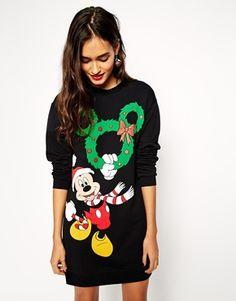 ASOS – Pulloverkleid mit weihnachtlichem Mickey-Mouse-Motiv
