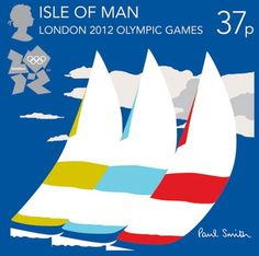 Royal Mail postage stamp celebrating the London 2012 Olympic Games - this stamp promotes The Isle of Man for the sailing events and was designed by British fashion designer Sir Paul Smith Isle Of Man, Stamp Collecting, Olympic Games, Paul Smith, Postage Stamps, Print Patterns, Poster Prints, Sir Paul, Graphics