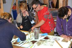 Workshop in progress.  Learn the traditional technique of painting on glass. Edinburgh