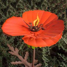 Scarlet Poppy Flower Tiki Torch