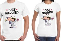 Cute Matching Couples T Shirt Set Just Married Funny Design Printed Cotton White Top Tee Honeymoom Fashion Unisex Shirt Graphic Design Services, Matching Couples, Funny Design, Just Married, White Tops, Cool T Shirts, Printed Cotton, Shirt Designs, Mens Tops