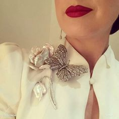 Exquisite Diamond and baroque pearl brooches as worn by Dita Von Teese at the Carolina Herrera Gala, Mexico City.