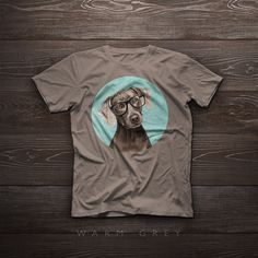 TShirt  Portrait of elegant Weimaraner with glasses  by SparaFuori