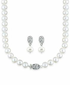 Sterling Silver Pearl Necklace and Earrings, Diamond Accent and Cultured Freshwater Pearl Set - Pearls - Jewelry & Watches - Macy's