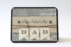 Father's Day, Handmade Card, Stamped Card, Greeting Card, Handcrafted Card, Card for Dad, Vintage, News, Black, Tan by BeyondTheReam on Etsy