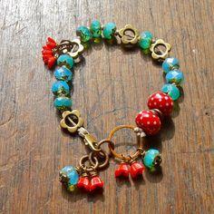 aqua and red bracelet handmade bracelet handmade by songbead, £22.00