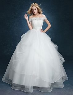 Ball Gown Wedding Dress - White Floor-length Off-the-shoulder Lace – USD $ 119.99