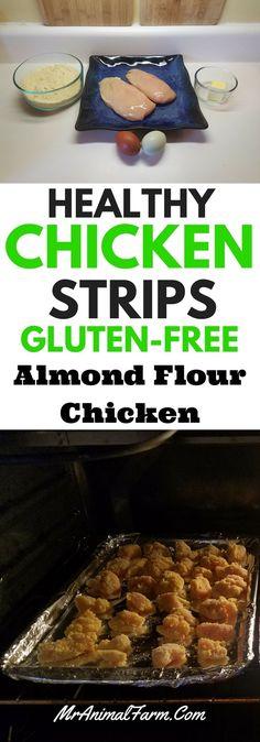 These healthy chicken strips are gluten free! You can make fast, easy gluten-free chicken strips with this recipe! Gluten Free Desserts, Gluten Free Recipes, Low Carb Recipes, Real Food Recipes, Healthy Recipes, Healthy Foods, Yummy Recipes, Eating Healthy, Healthy Eats