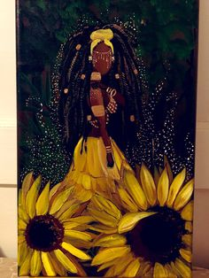 "OShun, inspired by Season 2 ""She's gotta have it"" on Netflix Black Art Painting, Black Artwork, Black Love Art, Black Girl Art, African American Art, African Art, Goddess Art, Oshun Goddess, Black Goddess"