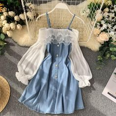 Girls Fashion Clothes, Teen Fashion Outfits, Mode Outfits, New Clothes, Fashion Dresses, Cute Casual Outfits, Pretty Outfits, Pretty Dresses, Blue Dress Casual