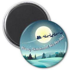 Santa Claus's Reindeer Flying Sleigh 2 Inch Round Magnet