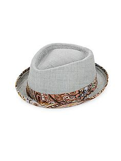 ROBERT GRAHAM REOTI TEXTURED & PRINTED COTTON FEDORA HAT. #robertgraham #