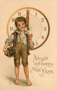 F. Brundage, A BRIGHT AND HAPPY NEW YEAR  urchin stands smoking in front of clock at 12 o'clock  image^^