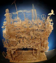 Scott Weaver's kinetic toothpick sculpture of San Francisco