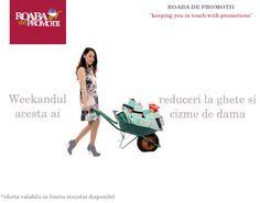 Promotii la ghete si cizme de dama    In acest weekand sunt reduceri masive la cizme si ghete pentru femei. Vei gasi preturi incepand de la 69 RON. Intra acum pe link-ul de mai jos si alege produsul preferat.    http://www.roabadepromotii.ro/Produse/Promotii-Incaltaminte-Femei/  Roaba de promotii - keeping you in touch with promotions