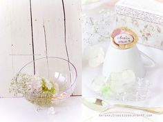 Baptism or tea party table decoration set (name holders and scented floating candles).