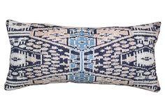 Pillow w/ Blue & Rust Ikat Textile