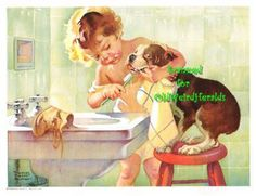 This was me and my girl Delilah! aw! vintage print of a Boston Terrier and baby brushing teeth
