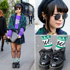 """Nana is an 18-year-old student who caught our eye in Harajuku. Her look is put together from items she bought at two of Harajuku's most popular shops for teens - Spinns  WEGO! We thought that the """"Hello My Name Is"""" print socks were pretty cute. (Tokyo Fashion, 2014)"""