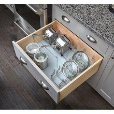 Rev-A-Shelf Wood with Grey Vinyl Lining Peg Board Drawer Insert - Kitchen Cabinet Ideas Clever Kitchen Storage, Kitchen Drawer Organization, Kitchen Drawers, Cabinet Organizers, Storage Cabinets, Kitchen Furniture, Kitchen Decor, Kitchen Ideas, Kitchen Themes