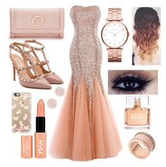 """""""Rose Gold Prom"""" by kaitlyngibson on Polyvore featuring NYX, GUESS, Valentino, Marc by Marc Jacobs, Givenchy, Swarovski, Michael Kors and Casetify"""