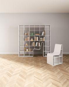 Japanese architect Sou Fujimoto's Bookchair slots in and out of its surrounding shelving to double as both storage and seating.