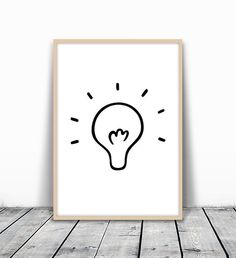 Idea Print, Light Bulb Print, Light Bulb, Office Wall Art, Ideas Poster, Hand Drawn Print, Office Poster, Simple Printable, Instant Download