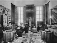 Art Deco Office with Geometric Rug