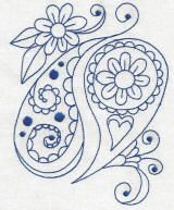 paisley embroidery pattern | Embroidery | Free machine embroidery designs | Paisley Blues Redwork