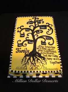 grow in different directions Family Tree Cake 80th Birthday Cake For Grandma, 70th Birthday Cake, Daddy Birthday, 90th Birthday Parties, Family Reunion Cakes, Family Tree Cakes, Family Reunions, Family Trees, Gotcha Day