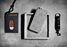 "Luna Concrete Skin for the iPhone 5 by Posh Projects. (The skin is made from flexible concrete and features ""craters"" unique to each skin that were inspired by craters on the moon.) 2013"