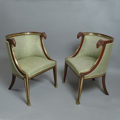 A rare and unusual pair of brass mounted mahogany bergeres in the Neo-Classical taste, of tub form, having rams head arm rests and raised upon square tapering legs with gilt metal hairy paw mounts. Furniture Styles, Furniture Design, Study Interior Design, Eclectic Taste, Wood Worker, Antique Furniture, Vintage Antiques, 19th Century, Contemporary